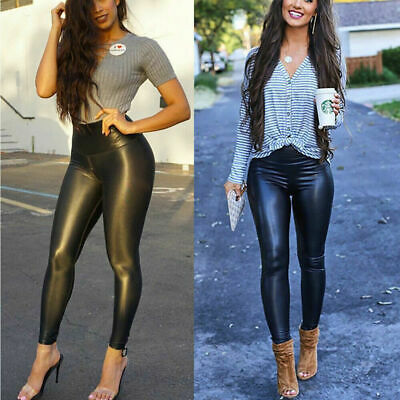 AU8.96 • Buy HIGH WAIST Leggings Mat Wet Look Latex Faux Imitation Leather Full Length_Higwst