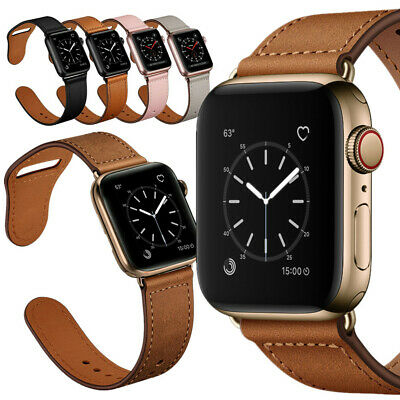 AU9.99 • Buy For Apple Watch Band 40/44mm Genuine Leather Watch Strap SE 6 5 4 3 2 38/42mm