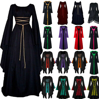 AU19.59 • Buy Halloween Women Renaissance Medieval Gothic Witch Costume Robe Dresses Cosplay