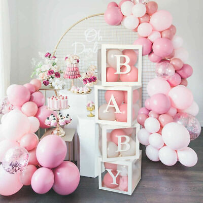 AU18.19 • Buy 4Pcs/Set BABY Balloon Box Cube Clear Boxes Birthday Baby Shower Party Wedding