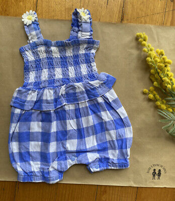 AU7.95 • Buy Pumpkin Patch Baby Girl Size 0-3 Months Blue White Gingham Romper Daisies, VGUC