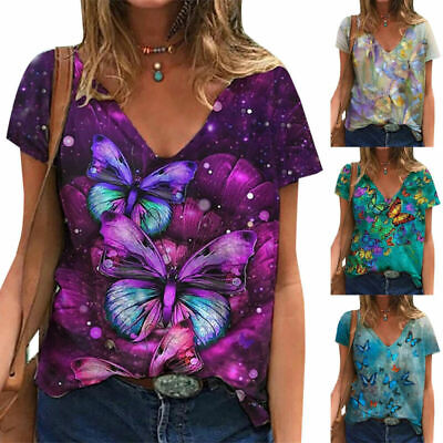 £6.66 • Buy Women's Boho Short Sleeve T Shirt Blouse Ladies Casual Floral Tee Tops Plus Size