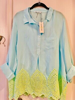 $ CDN47.30 • Buy FIG & FLOWER Anthropologie XL PEASANT Blouse Boho Turquoise Yellow Embroidered