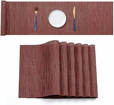 AU41.49 • Buy PVC Woven Placemat Dining Table Runner Mats Kitchen Heat Resistant Pad Washable
