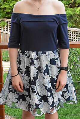 AU19.99 • Buy DOTTI DRESS (Size 16): NAVY WITH WHITE FLORAL SKIRT