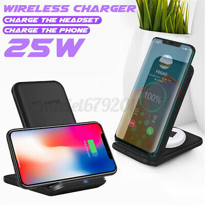 AU19.93 • Buy For IPhone 11 12 25W 2 In 1 Wireless Charge Dock Stand For AirPod For Galaxy Qi