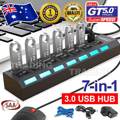 AU17.45 • Buy 7 Port USB 3.0 HUB Powered +High Speed Splitter Extender PC AC Adapter Cable OZ