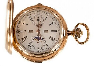 £10382.40 • Buy Gorgeous 14k Yellow Gold Valdor Minute Repeater Moonphase 32 Jewel Pocket Watch