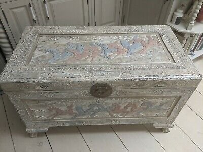 Shabby Chic Vintage Hand Carved Camphor Wood ChestIdeal For Nursery Toy Box • 199£