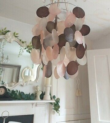 £18.99 • Buy Capiz Shell Chandelier Style Ceiling Light Shade Pendant, Pink Brown & Clear