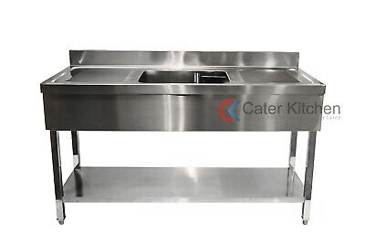 Stainless Steel Double Drainer Commercial Restaurant Catering Sink 1500mm • 399£