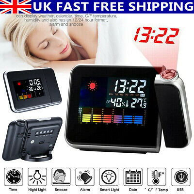 £8.29 • Buy LED Digital Alarm Clock Time Projector Weather Thermometer Snooze LCD Color UK