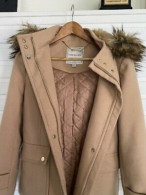 AU19.95 • Buy Forever New Jacket Coat Remove Able Huddie Faux Fur Size 10