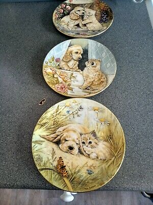 £10 • Buy Royal Worcester Set Of 3 Cat Plates, From The Just Good Friends Collection