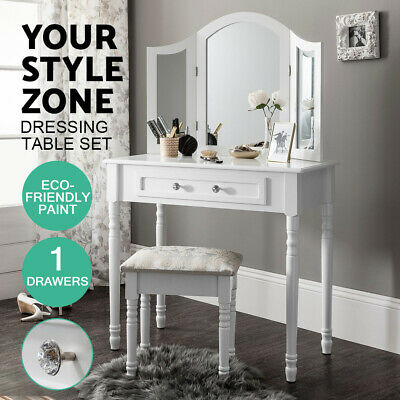 AU94 • Buy European Style Modern White Dressing Table With Mirror Stool Package
