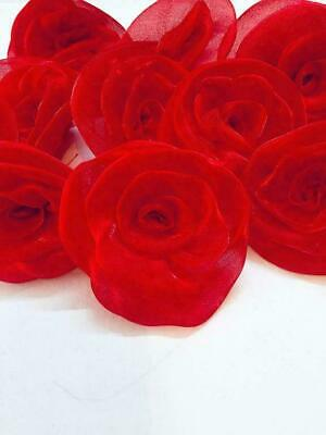 £15.72 • Buy Satin Artificial Roses Decorative Flower For Dresses,Craft &Home Decore -Red 20p