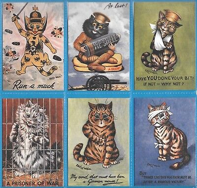 £3.50 • Buy Louis Wain First World War  Complete Set Of Six Cat Cards By Crystal Cat Cards
