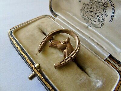 Vintage, AJH Rolled Gold, Horse And Horse Shoe Brooch • 1.20£