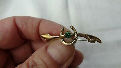 Lucky Wishbone/horse Shoe Vintage Brooch With Green Stone • 5£
