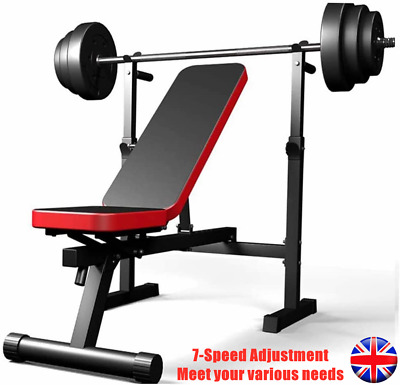 £79.89 • Buy Folding Adjustable Weight Bench & Weight Rack Barbell Flat Sit Up Home Fitness