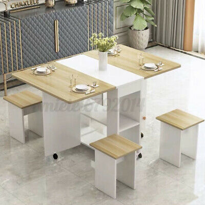 £113.99 • Buy Dining Kitchen Table And 4 Chairs Set Two Drop Leaf Folding Top Home Furniture