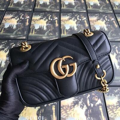 AU198.30 • Buy Gucci Gg Crossbody Marmont Calfskin Small Black Leather Shoulder Bag