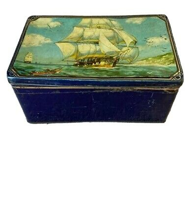 Vintage Retro 50's? Pascall Sweet Tin Beautiful Lid With Ship In Full Sail  • 3.50£