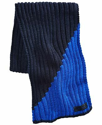 Calvin Klein Men's Scarf Navy Blue Colorblocked Slashed Chunky Ribbed $55 #073 • 6.43£