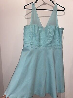 AU20 • Buy Forever New Light Blue Green Lace Bodice Dress Size 16