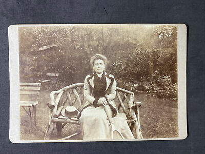 £4.50 • Buy Victorian Photo: Cabinet Card: Lady Outside Tennis Racket Unusual Benches