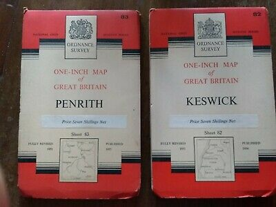 1950s Ordnance Survey Maps - Keswick (82) And Penrith (83) • 2£