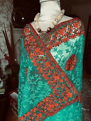 £35 • Buy Designer Net Saree Emerald Green, Beautifully Embellished With Blouse