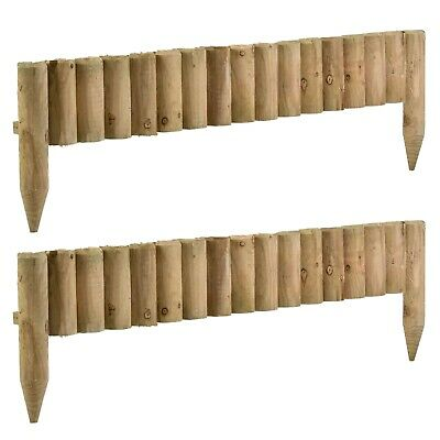 £18.99 • Buy 1M Log Wooden Roll Border Fixed Picket Fence Edge Garden Outdoor Lawn Edging