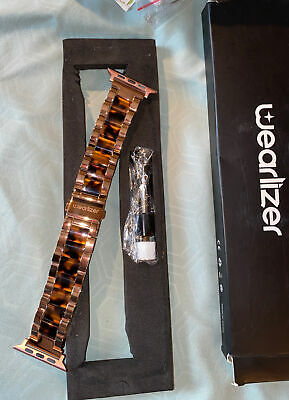 $22 • Buy New WEARLIZER Apple Watch Replacement Band 38/40mm Rose GOLD & TORTOISE Link