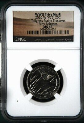 $ CDN3.63 • Buy 2020 W Tallgrass Prairie NGC MS 64 - V75 WWII Privy Mark