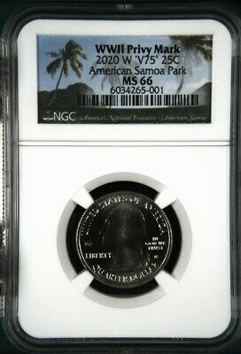 $ CDN6.65 • Buy 2020 W American Samoa Park NGC MS 66 - V75 WWII Privy Mark
