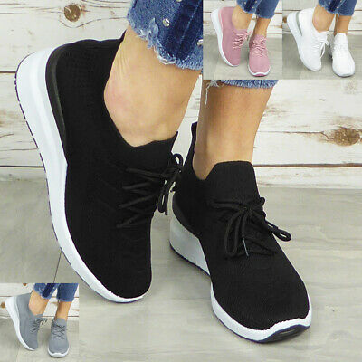 £13.95 • Buy Sock Trainers Ladies Shoes Womens Wedge Lace Up Sneakers Comfy Pumps Casual Size