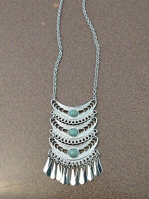 $ CDN9.07 • Buy Lia Sophia Long Silver Necklace With Unique Design And Blue Stones, Beautiful