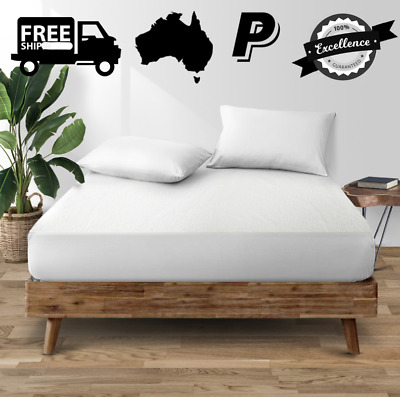 AU31.95 • Buy Double Bed Waterproof Bamboo Mattress Cover Protector Size D Breathable Stretch