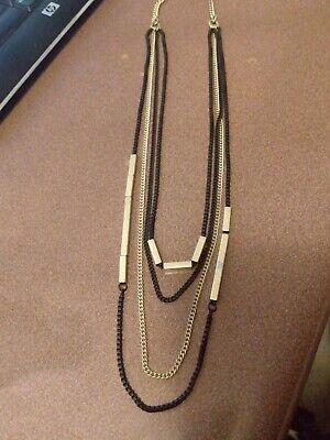 $ CDN9.07 • Buy Lia Sophia Gold And Black Chains Multistrand Necklace With Rectangle Gold Bars