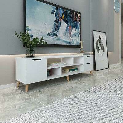 £65.99 • Buy Modern TV Unit Cabinet Stand Media Storage Console Table W/ 2 Drawers White