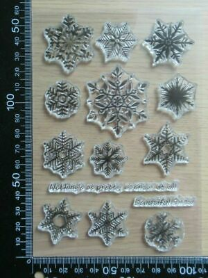 £3.99 • Buy Clear Acrylic Unmounted Stamp Set 14 Pc Christmas Snowflakes Snow Flake