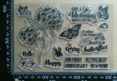 £3.99 • Buy Clear Acrylic Unmounted Stamps - Hydrangea & Butterflies / Retirement New Home