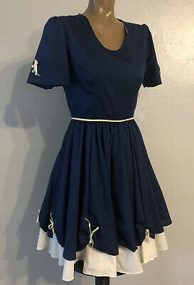 $49.99 • Buy True Vintage Square Dance Dress Western Skirt Cotton Blue With White Cosplay 50s