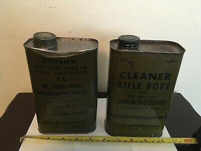 $35 • Buy Vintage Military Rifle Bore Cleaner & Oil Lubricating 1 Quart Cans Lot Of 2 Read