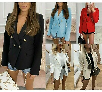 £25.90 • Buy Womens Double Breasted Button Front Military Style Blazer Ladies Formal Jacket