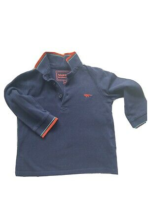 Boys Age 2-3 Navy Blue And Red Dinosaur Blue Zoo Long Sleeved Polo Shirt Top • 0.99£