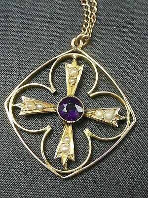 £38 • Buy Antique Edwardian Gold Amethyst Seed Pearl Lavaliere Pendant & Chain Necklace