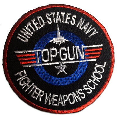 £4.49 • Buy Iron On Patches - Top Gun Movie -black - Ø7,5cm -Application Embroided Badges