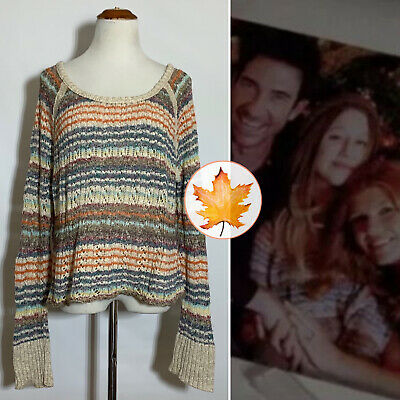 $ CDN82.49 • Buy FREE PEOPLE Lost In The Forest Pullover Rainbow Stripe M ASO Violet Harmon
